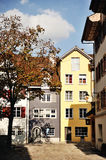 View of characteristic swiss house in Bremgarten, beautiful town near Zurich, Aargau, Switzerland Royalty Free Stock Images