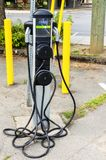 Charging Point for Electric Cars. View of an Charging Station for Electric Cars along a Street in Downtown Duncan, BC, Canada Royalty Free Stock Images
