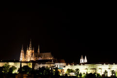 View on Charle`s bridge and St. Vitus Cathedral at Stock Photography