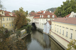 View from Charles Bridge in early morning and overcast sky Royalty Free Stock Image