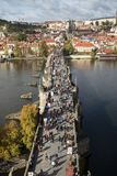 View of Charles bridge Karluv Most from the height.  Royalty Free Stock Image