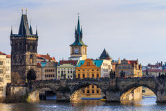 View of Charles Bridge (Karluv most) and Old Town Bridge Tower, Royalty Free Stock Photo