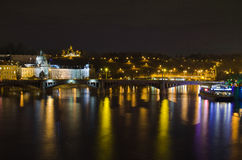 View from the Charles Bridge at night Stock Images