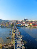 View of Charles Bridge and the Old Town of Prague Stock Image