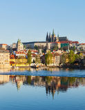 View of Charles bridge over Vltava river and Gradchany (Prague C Royalty Free Stock Photo
