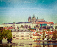 View of Charles bridge over Vltava river and Gradchany (Prague C. Vintage retro hipster style travel image of Charles bridge over Vltava river and Gradchany ( Royalty Free Stock Photos