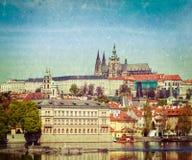 View of Charles bridge over Vltava river and Gradchany (Prague C Royalty Free Stock Photos