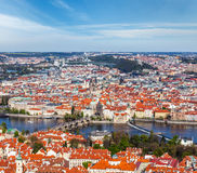 View of Charles Bridge over Vltava river and Old city from Petri Royalty Free Stock Photography