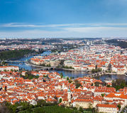 View of Charles Bridge over Vltava river and Old city from Petri Stock Photography
