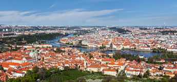 View of Charles Bridge over Vltava river and Old city from Petri Royalty Free Stock Images