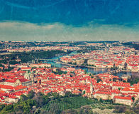 View of Charles Bridge over Vltava river and Old city from Petri. Vintage retro hipster style travel image of aerial view of Charles Bridge over Vltava river and Stock Image