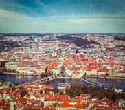 View of Charles Bridge over Vltava river and Old city from Petri. Vintage retro hipster style travel image of aerial view of Charles Bridge over Vltava river and Stock Images
