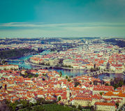 View of Charles Bridge over Vltava river and Old city from Petri Stock Image