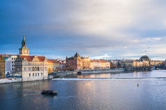 The view from the Charles bridge over the Vltava river, Smetana Stock Photo