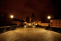 view of the Charles Bridge in Prague Stock Photo
