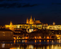 View of Charles Bridge and Prague Castle in twilight Stock Photos