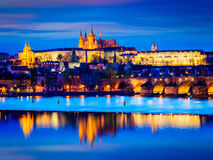 View of Charles Bridge and Prague Castle in twilight Royalty Free Stock Photos