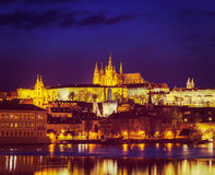 View of Charles Bridge and Prague Castle in twilight Royalty Free Stock Images
