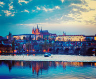 View of Charles Bridge and Prague Castle in twilight Stock Photo