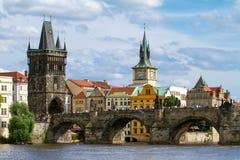 View of the Charles Bridge in Prague Stock Photo