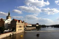 View from Charles bridge, Prague. Charles bridge in Prague, Czech Republic, Europe. The bridge has a beautiful view of the house of the composer Smetana and Stock Photo