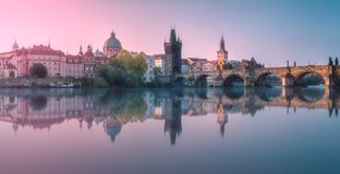 View of Charles bridge Prague, Czech Republic. Stock Photo
