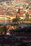 View from Charles Bridge,Prague, Czech Republic. Scenic view with Charles Bridge, Vltava river and Prague city, Czech Republic Stock Photography