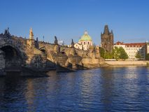 View of Charles Bridge in Prague, Czech Republic. Gothic Charles Bridge is one of the most visited sights in Prague. Architecture royalty free stock image