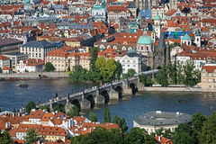 View of the Charles Bridge and Prague Old Town, Czech Republic Stock Photos