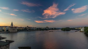 View from Charles Bridge in Prague before the sunrise night to day timelapse, Bohemia, Czech Republic. stock video