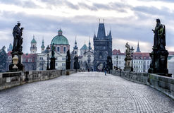 View of the Charles Bridge in Prague. Tourists walk along the Charles Bridge Royalty Free Stock Photography