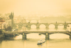 View of Charles Bridge in Prague and Vltava river Stock Image