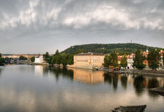 View from Charles bridge on river Vltava Royalty Free Stock Images