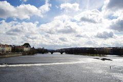 View from Charles bridge on a sunny day Stock Images