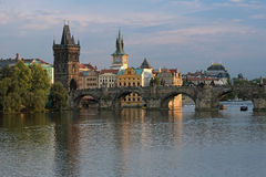 View on Charles Bridge at sunset, Prague Stock Images