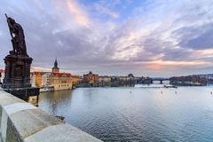 View from the Charles bridge to Smetana museum on the right bank of the river Vltava in the Old Town of Prague. Royalty Free Stock Photo