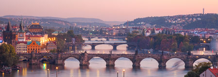 View at The Charles Bridge  and Vltava river Stock Photo