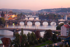 View at The Charles Bridge  and Vltava river Stock Images