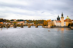 View on Charles Bridge and Vltava river in Prague Stock Image