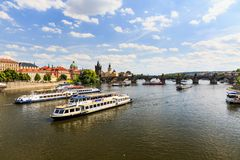 View of the Charles Bridge and the Vltava River Stock Images