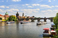 View of the Charles Bridge and the Vltava River Stock Image