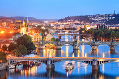 View at The Charles Bridge and Vltava river in Prague in dusk Royalty Free Stock Photos