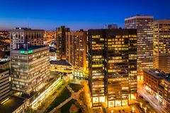 View of Charles Center at night, in downtown Baltimore, Maryland Royalty Free Stock Photography