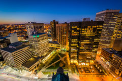 View of Charles Center at night, in downtown Baltimore, Maryland Royalty Free Stock Photos