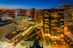 View of Charles Center at night, in downtown Baltimore, Maryland Stock Photo