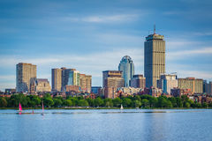 View of the Charles River and  buildings in Back Bay from Cambri Stock Image