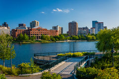 View of the Charles River and buildings in Boston, at North Poin. T Park, in Cambridge, Massachusetts Stock Photography