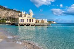 View of Charleston, the Mondello beach establishment on the sea in Palermo, Sicily. View of Charleston, the Mondello beach establishment on the sea in Palermo royalty free stock photography