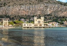 View of Charleston, the Mondello beach establishment on the sea in Palermo, Sicily. View of Charleston, the Mondello beach establishment on the sea in Palermo royalty free stock photo