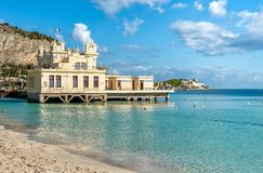 View of Charleston, the Mondello beach establishment on the sea in Palermo, Sicily. stock image